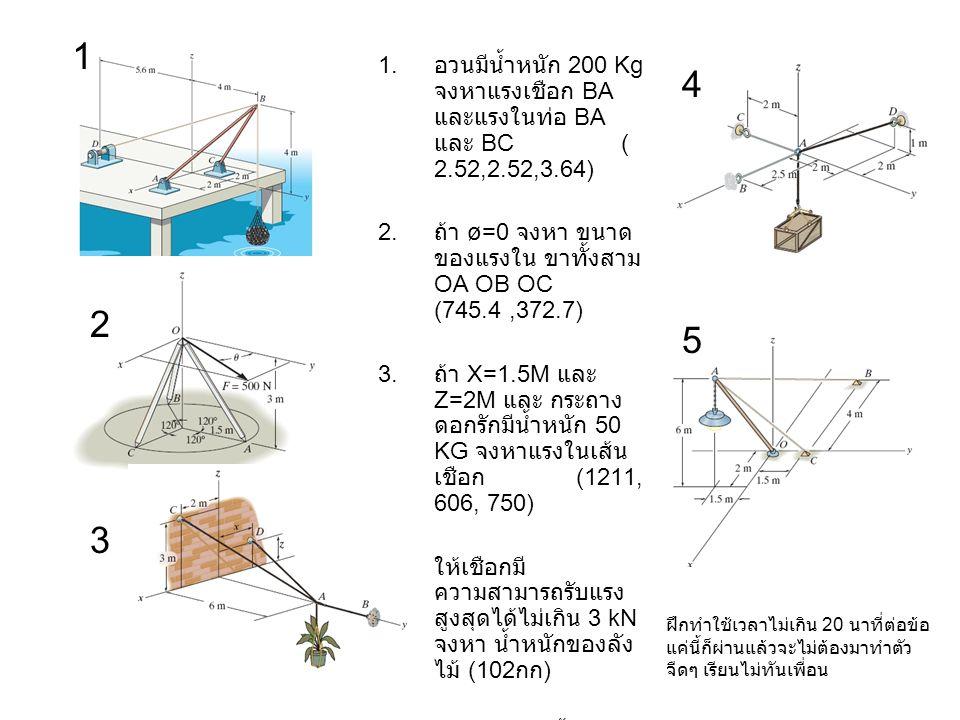 1 อวนมีน้ำหนัก 200 Kg จงหาแรงเชือก BA และแรงในท่อ BA และ BC ( 2.52,2.52,3.64)
