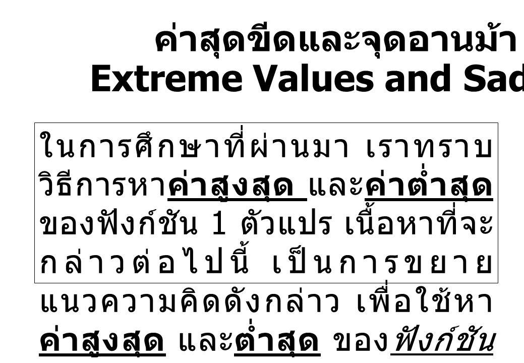 ค่าสุดขีดและจุดอานม้า Extreme Values and Saddle Points