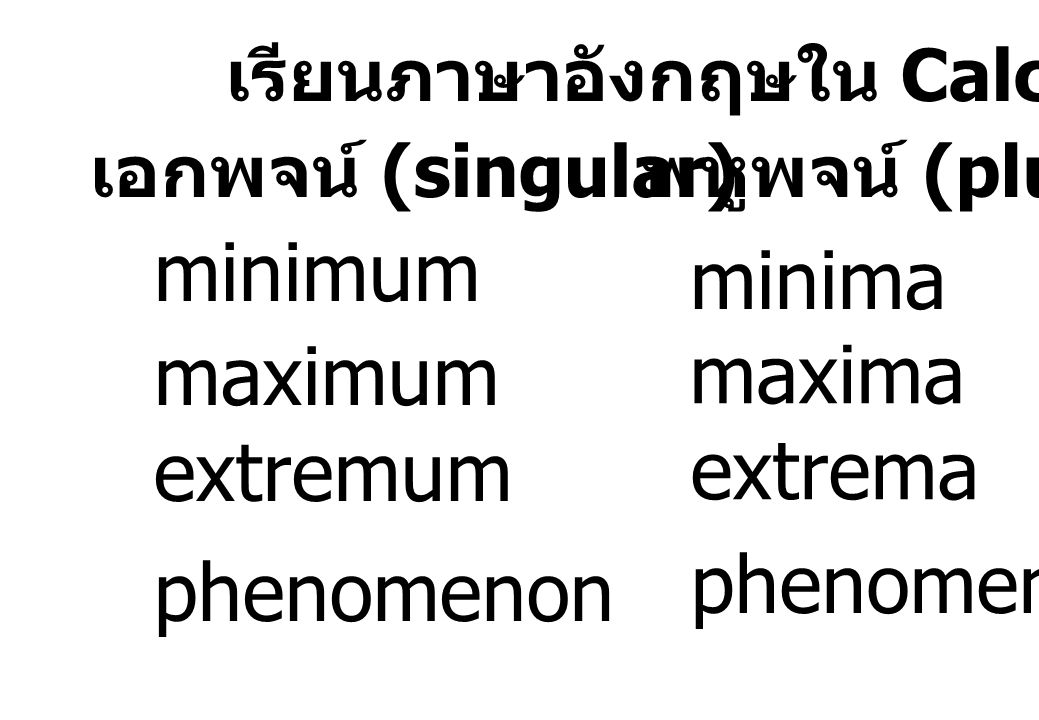 minimum minima maximum maxima extremum extrema phenomena phenomenon