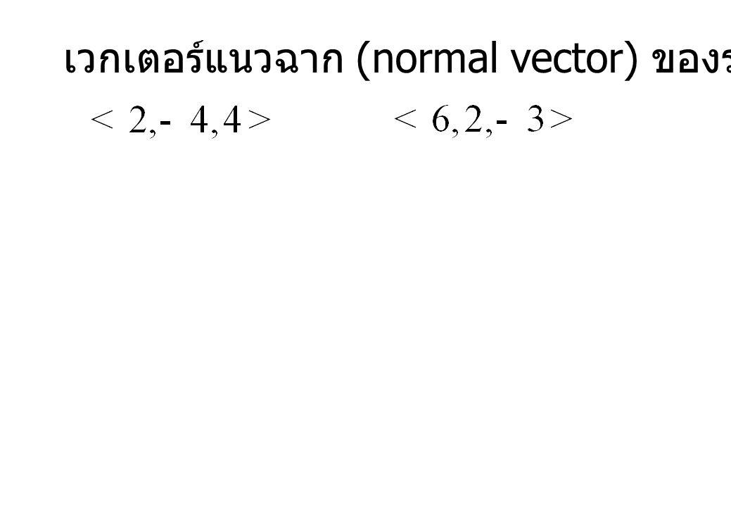 เวกเตอร์แนวฉาก (normal vector) ของระนาบทั้งสองคือ