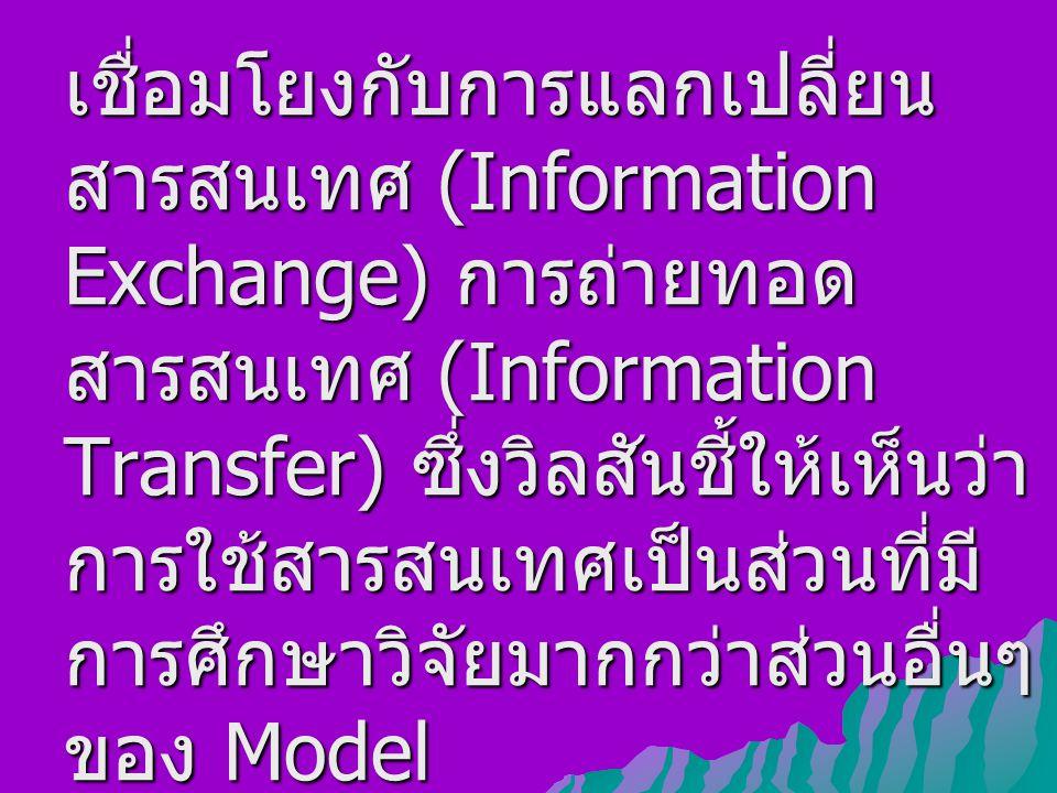 เชื่อมโยงกับการแลกเปลี่ยนสารสนเทศ (Information Exchange) การถ่ายทอดสารสนเทศ (Information Transfer) ซึ่งวิลสันชี้ให้เห็นว่าการใช้สารสนเทศเป็นส่วนที่มีการศึกษาวิจัยมากกว่าส่วนอื่นๆ ของ Model