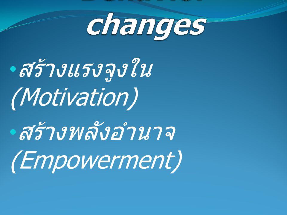 สร้างแรงจูงใน (Motivation) สร้างพลังอำนาจ (Empowerment)