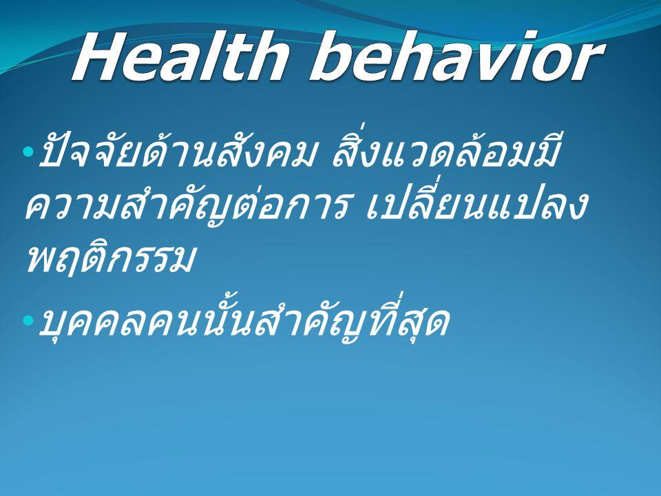 Health behavior ปัจจัยด้านสังคม สิ่งแวดล้อมมีความสำคัญต่อการ เปลี่ยนแปลงพฤติกรรม.