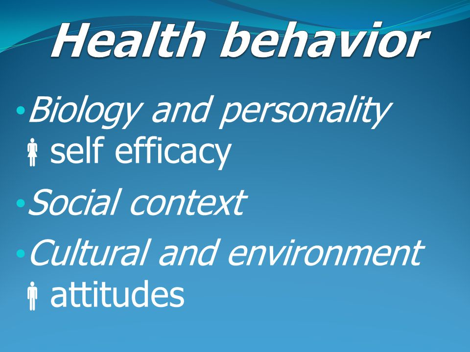 Health behavior Biology and personality self efficacy Social context