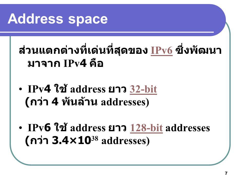 Address space ส่วนแตกต่างที่เด่นที่สุดของ IPv6 ซึ่งพัฒนามาจาก IPv4 คือ