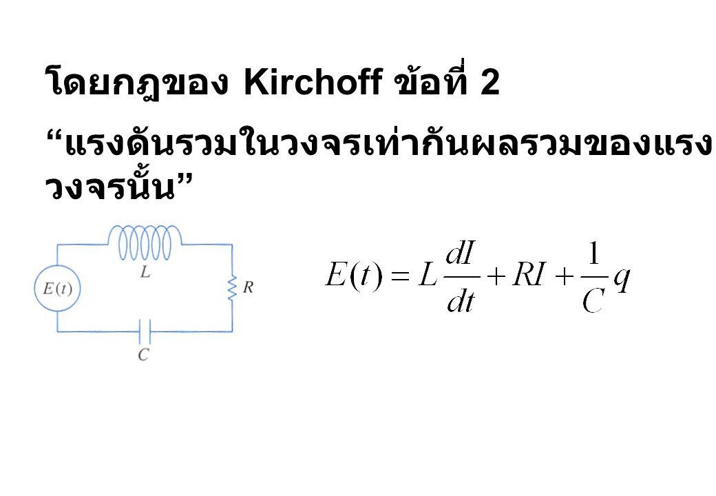 โดยกฎของ Kirchoff ข้อที่ 2
