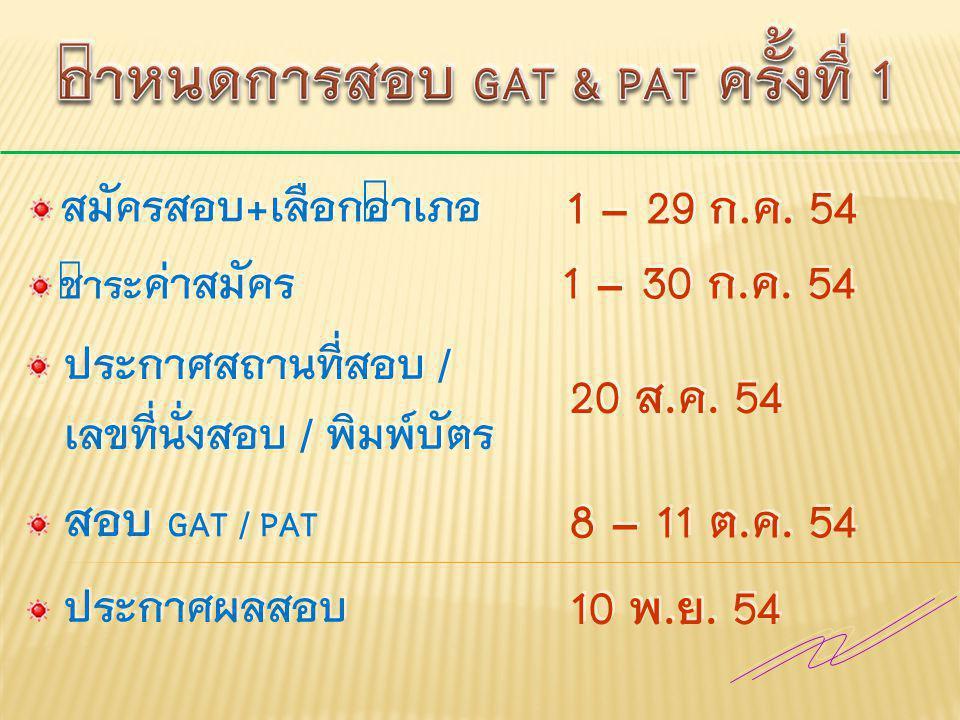 กำหนดการสอบ GAT & PAT ครั้งที่ 1
