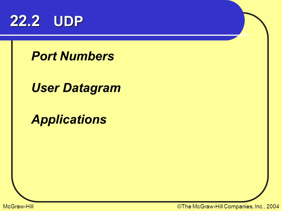 22.2 UDP Port Numbers User Datagram Applications
