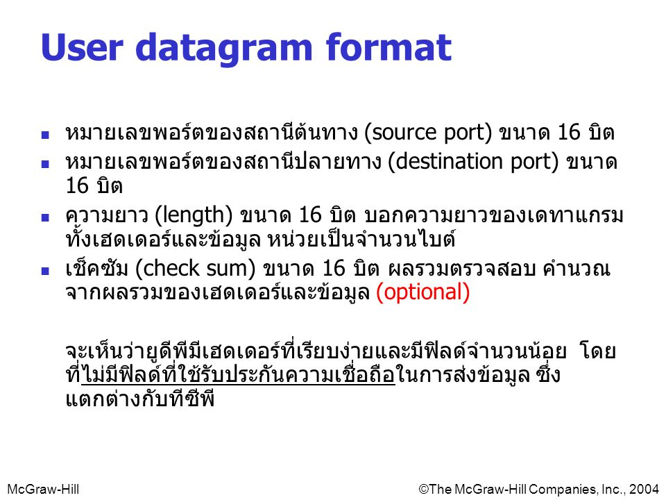 User datagram format หมายเลขพอร์ตของสถานีต้นทาง (source port) ขนาด 16 บิต. หมายเลขพอร์ตของสถานีปลายทาง (destination port) ขนาด 16 บิต.