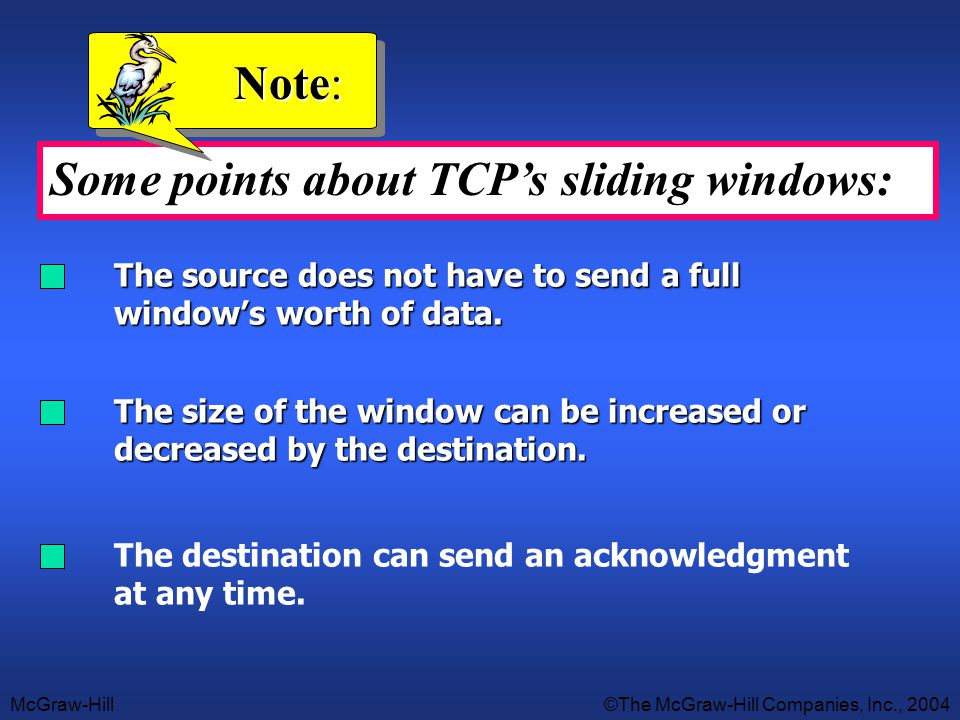 Some points about TCP's sliding windows: