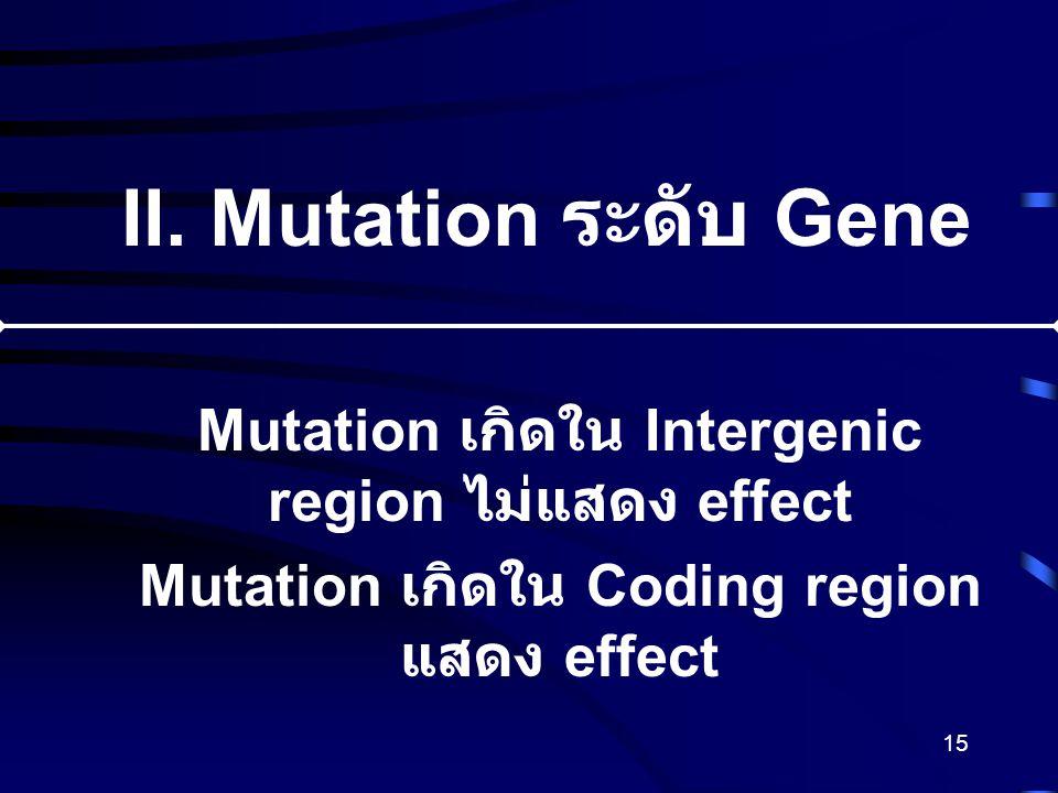 II. Mutation ระดับ Gene Mutation เกิดใน Intergenic region ไม่แสดง effect.