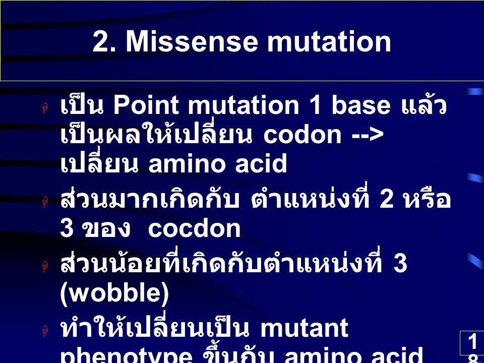 2. Missense mutation เป็น Point mutation 1 base แล้วเป็นผลให้เปลี่ยน codon --> เปลี่ยน amino acid. ส่วนมากเกิดกับ ตำแหน่งที่ 2 หรือ 3 ของ cocdon.