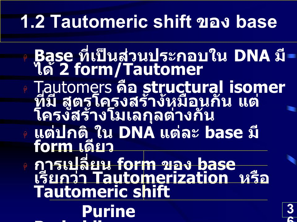 1.2 Tautomeric shift ของ base