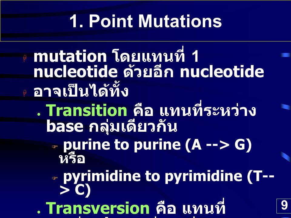 1. Point Mutations mutation โดยแทนที่ 1 nucleotide ด้วยอีก nucleotide