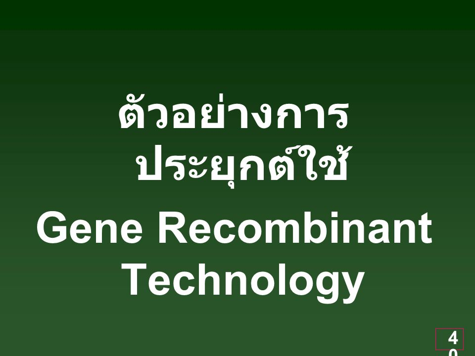 ตัวอย่างการประยุกต์ใช้ Gene Recombinant Technology
