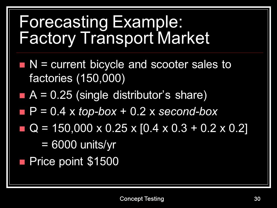 Forecasting Example: Factory Transport Market