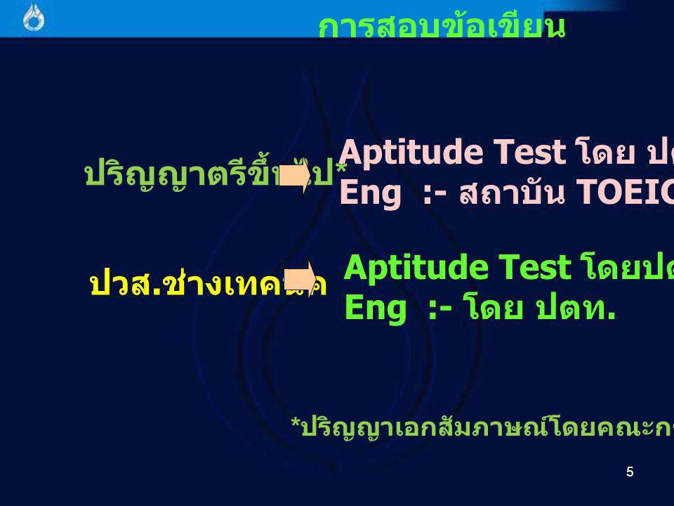 การสอบข้อเขียน Aptitude Test โดย ปตท. ปริญญาตรีขึ้นไป*