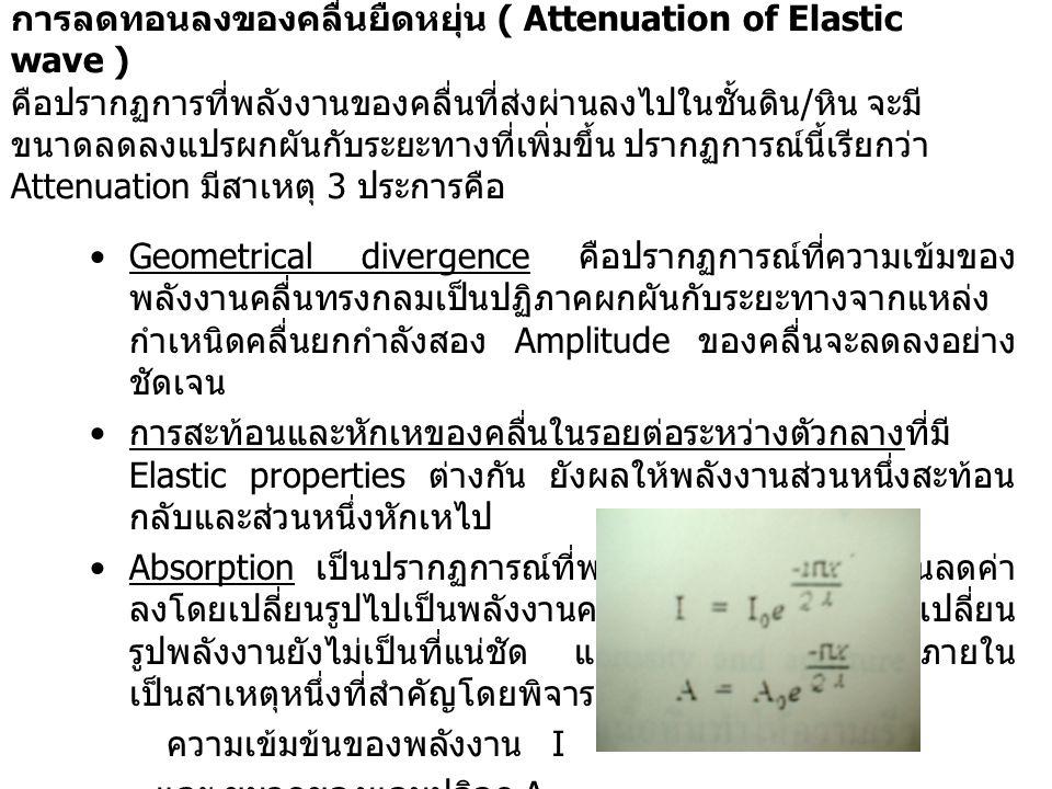 การลดทอนลงของคลื่นยืดหยุ่น ( Attenuation of Elastic wave ) คือปรากฏการที่พลังงานของคลื่นที่ส่งผ่านลงไปในชั้นดิน/หิน จะมีขนาดลดลงแปรผกผันกับระยะทางที่เพิ่มขึ้น ปรากฏการณ์นี้เรียกว่า Attenuation มีสาเหตุ 3 ประการคือ
