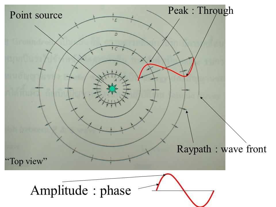 Amplitude : phase Peak : Through Point source Raypath : wave front