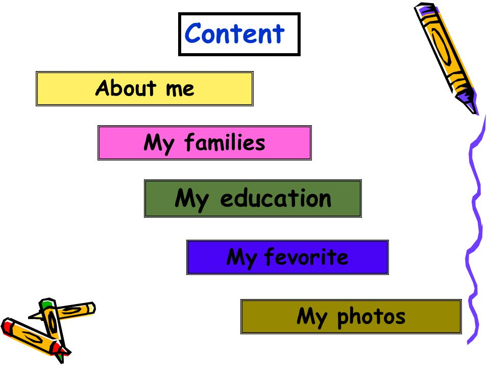 Content About me My families My education My fevorite My photos