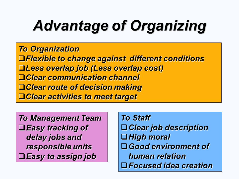 Advantage of Organizing