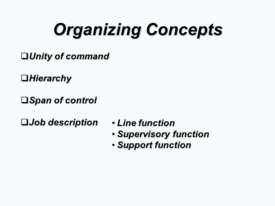 Organizing Concepts Unity of command Hierarchy Span of control