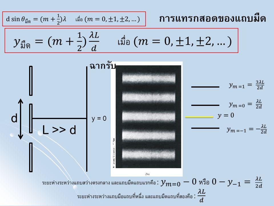 การแทรกสอดของแถบมืด ฉากรับ d y = 0 L >> d