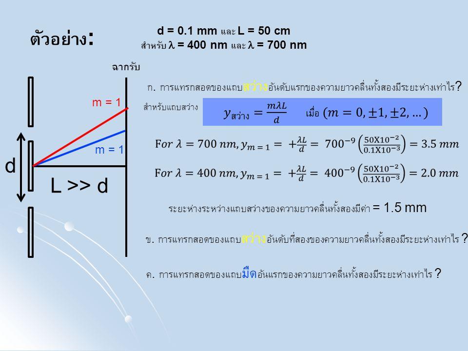 ตัวอย่าง: d L >> d ฉากรับ