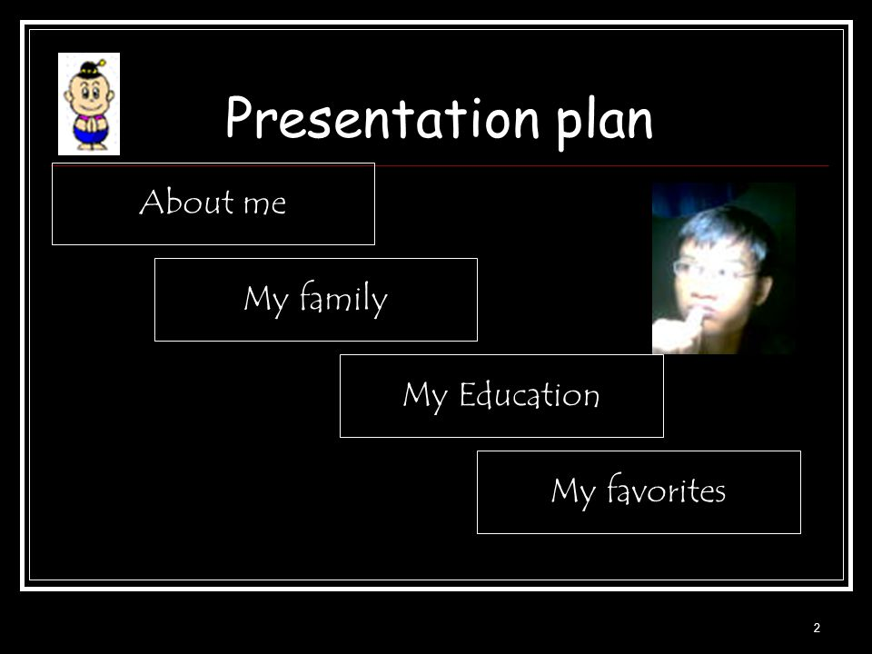 Presentation plan About me My family My Education My favorites