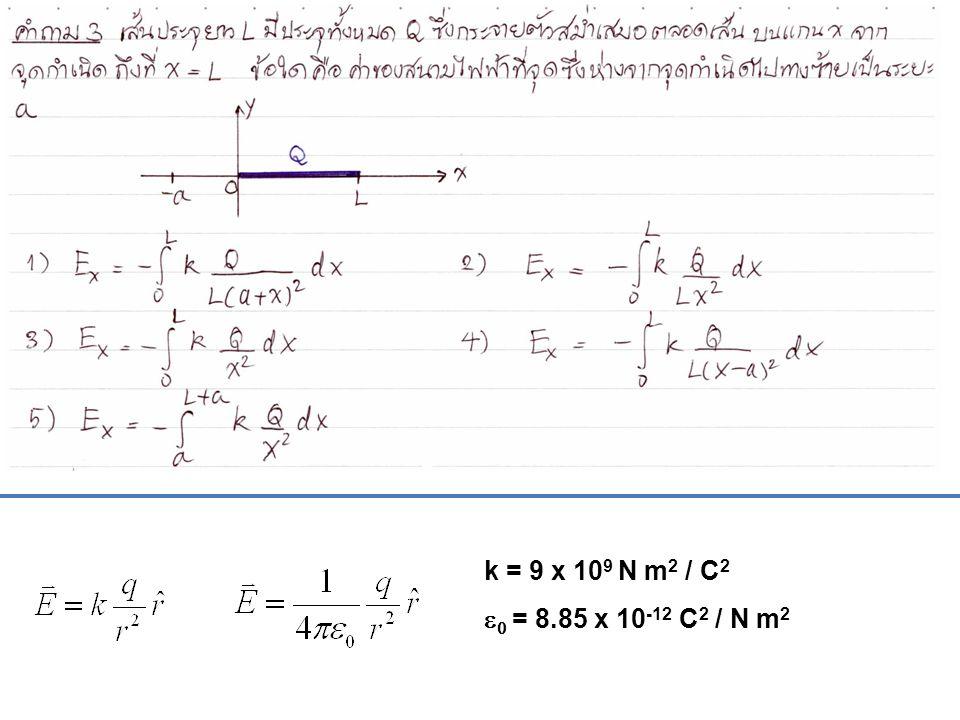 k = 9 x 109 N m2 / C2 e0 = 8.85 x 10-12 C2 / N m2
