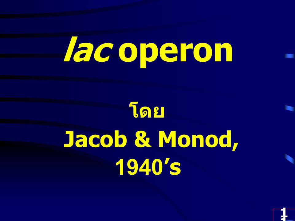 lac operon โดย Jacob & Monod, 1940's
