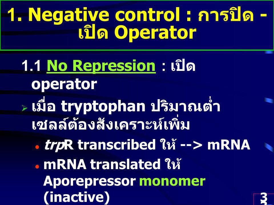 1. Negative control : การปิด - เปิด Operator