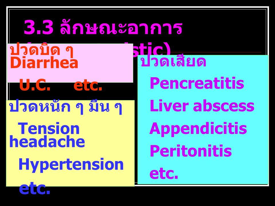 3.3 ลักษณะอาการ (characteristic)