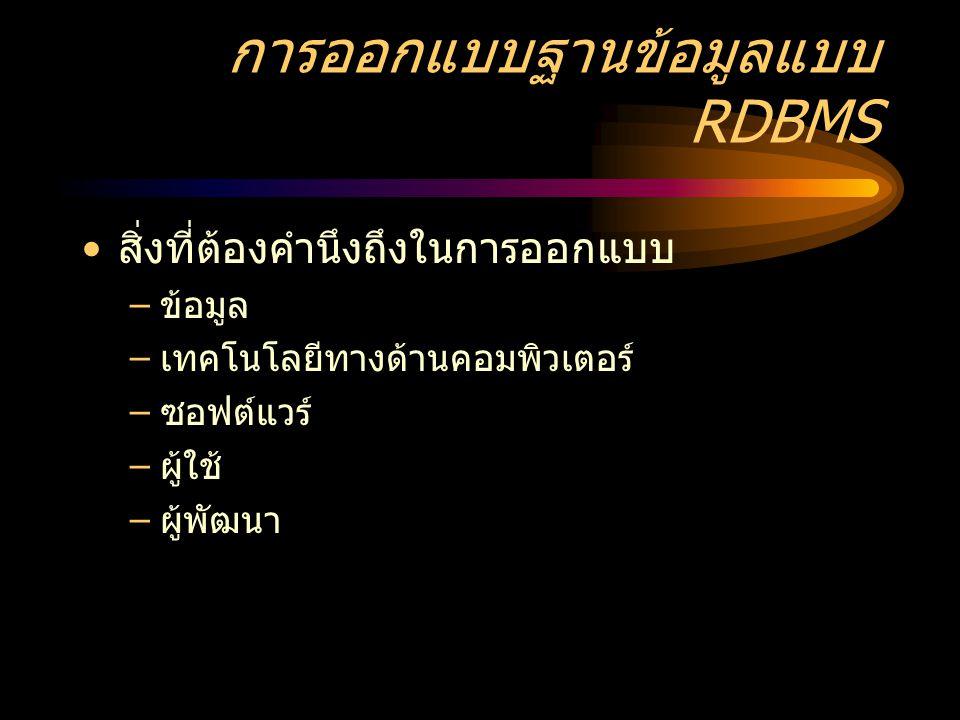 การออกแบบฐานข้อมูลแบบ RDBMS
