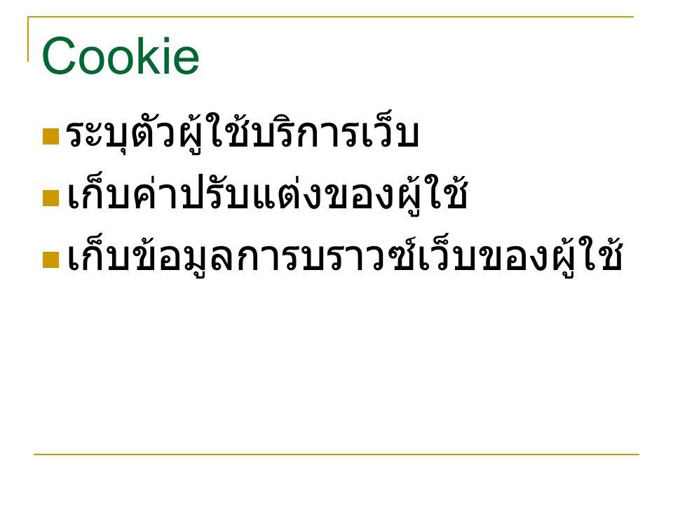 Cookie ระบุตัวผู้ใช้บริการเว็บ เก็บค่าปรับแต่งของผู้ใช้