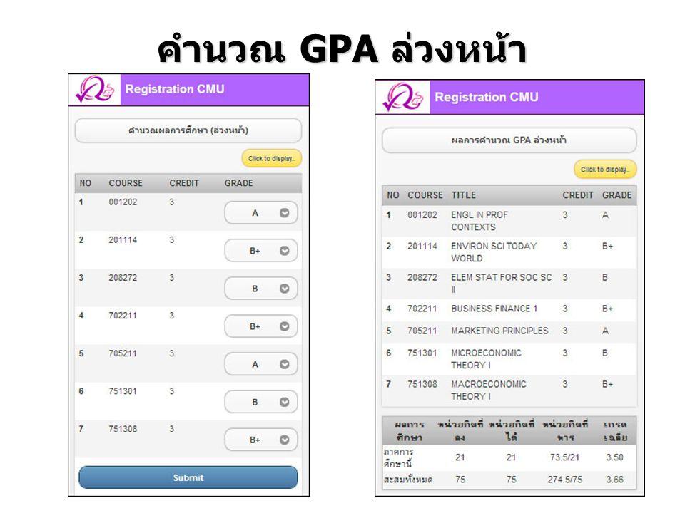 คำนวณ GPA ล่วงหน้า