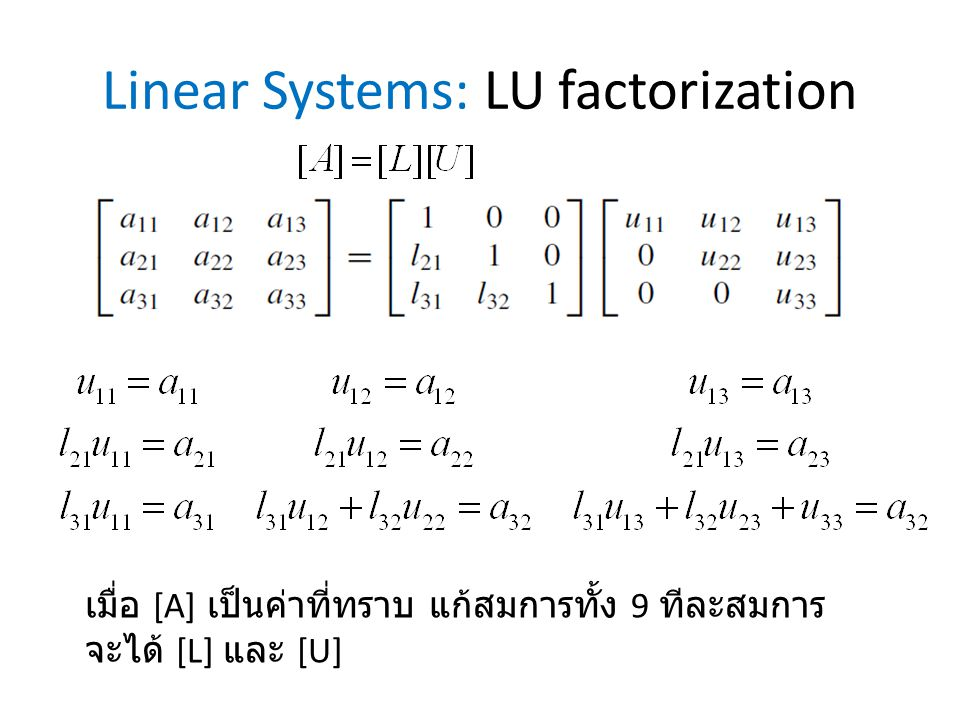 Linear Systems: LU factorization