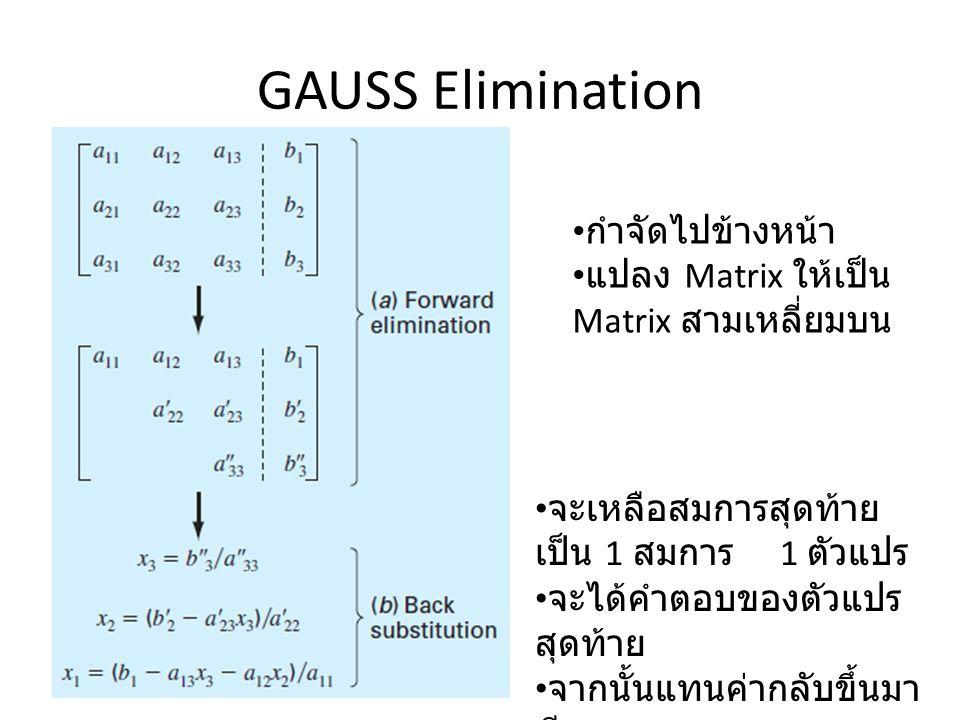 GAUSS Elimination กำจัดไปข้างหน้า
