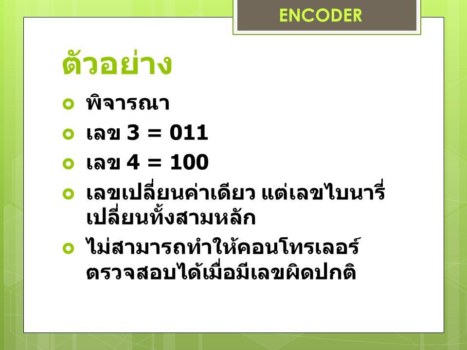 ตัวอย่าง พิจารณา เลข 3 = 011 เลข 4 = 100
