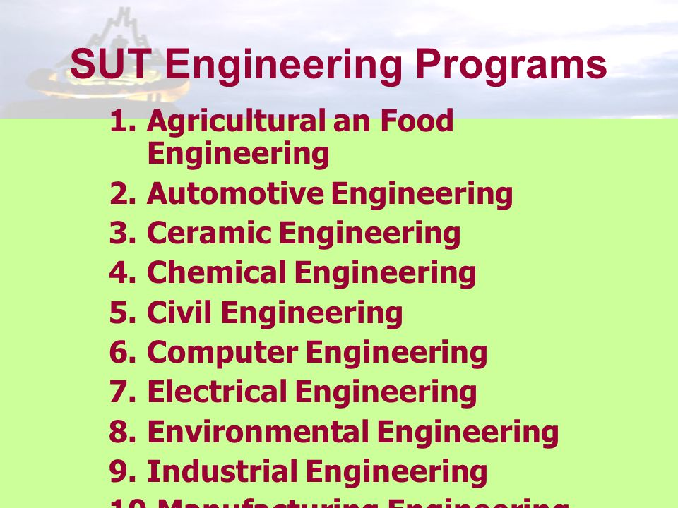 SUT Engineering Programs