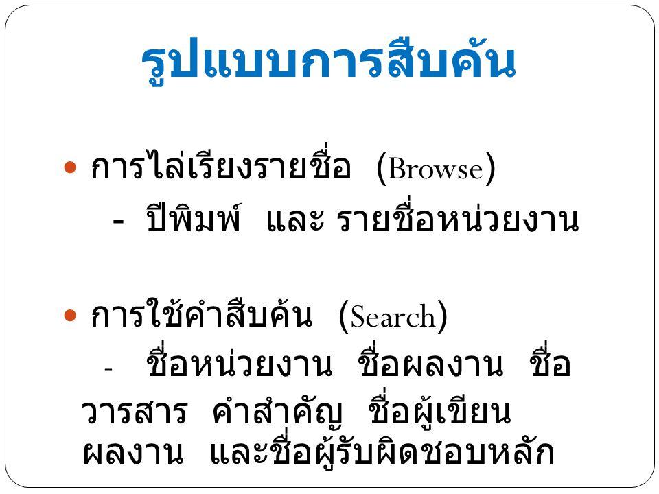 รูปแบบการสืบค้น การไล่เรียงรายชื่อ (Browse)