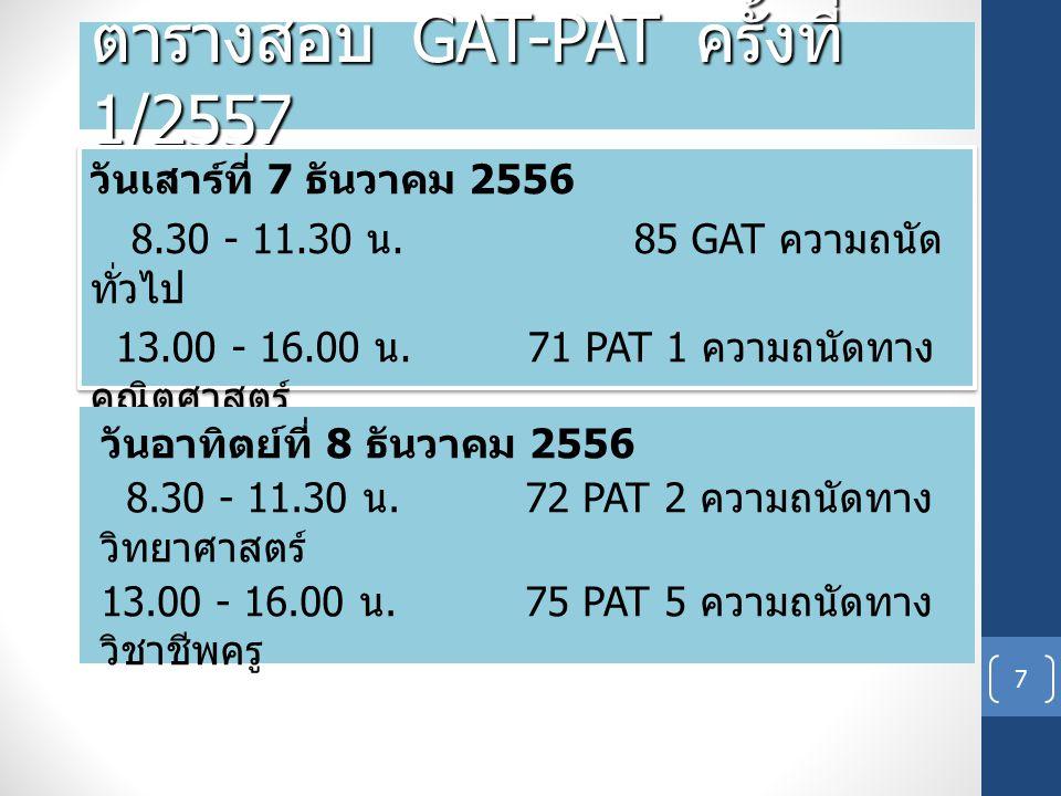 ตารางสอบ GAT-PAT ครั้งที่ 1/2557