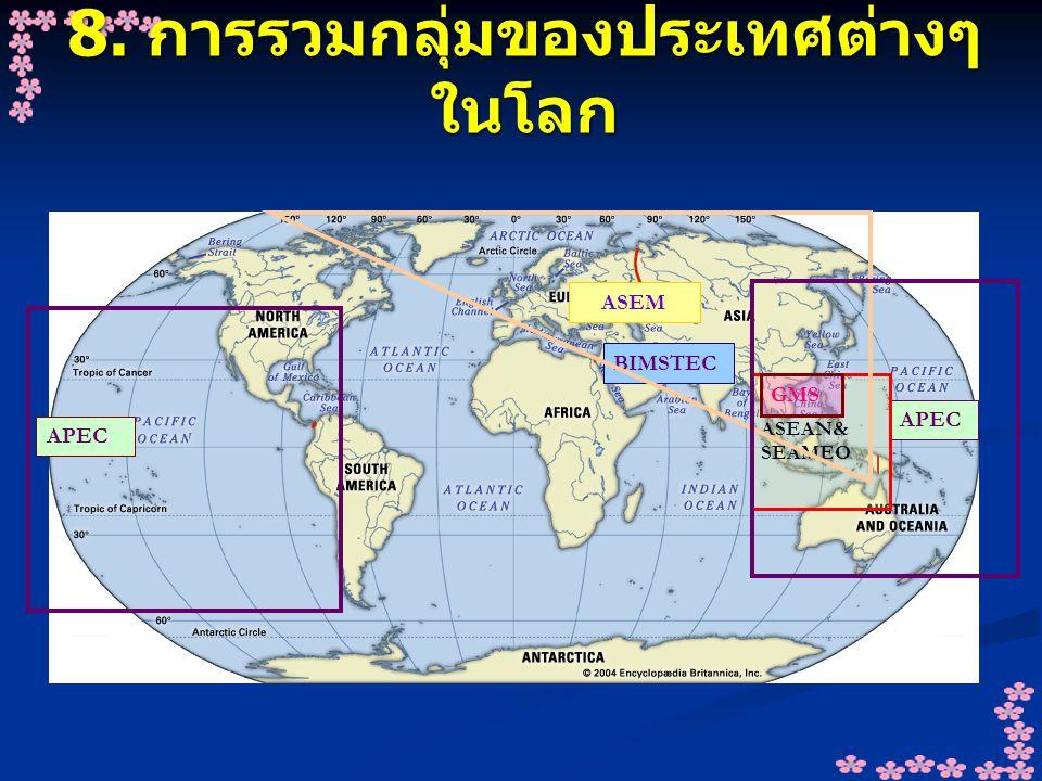 8. การรวมกลุ่มของประเทศต่างๆ ในโลก