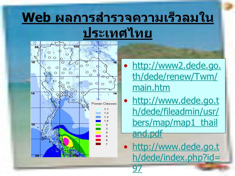 Web ผลการสำรวจความเร็วลมในประเทศไทย