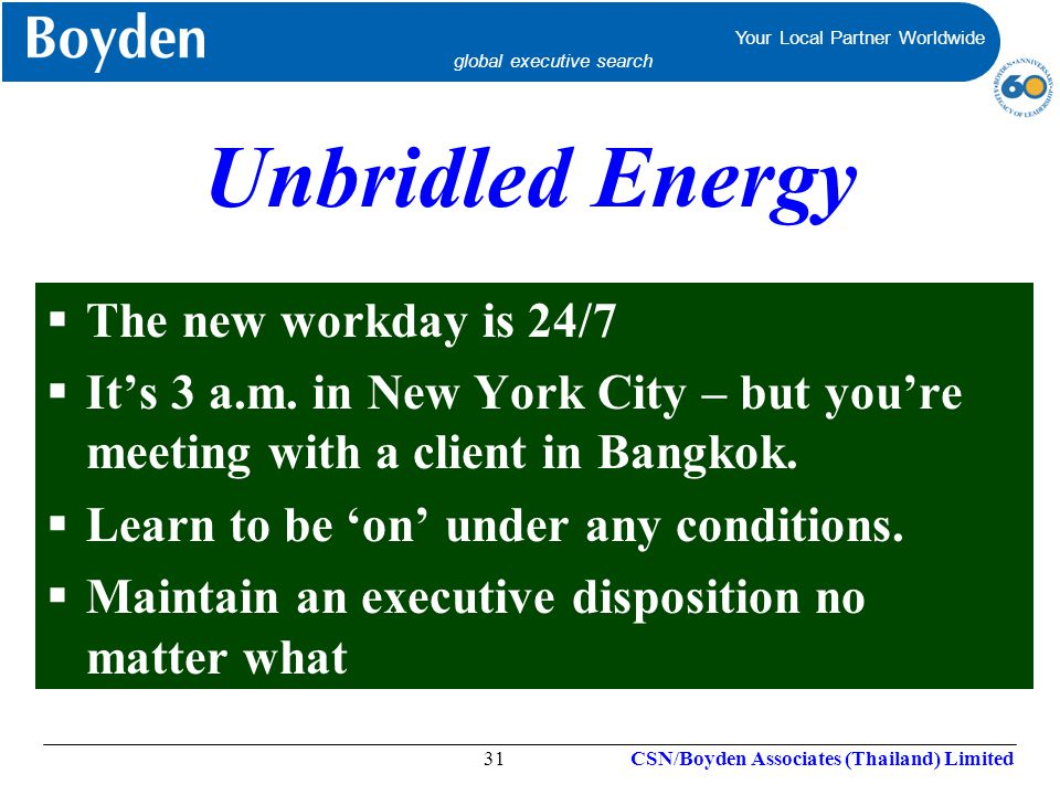 Unbridled Energy The new workday is 24/7