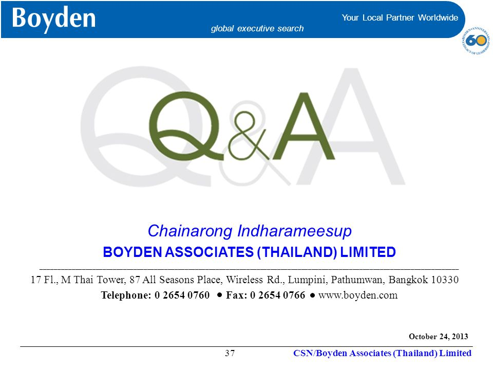 BOYDEN ASSOCIATES (THAILAND) LIMITED