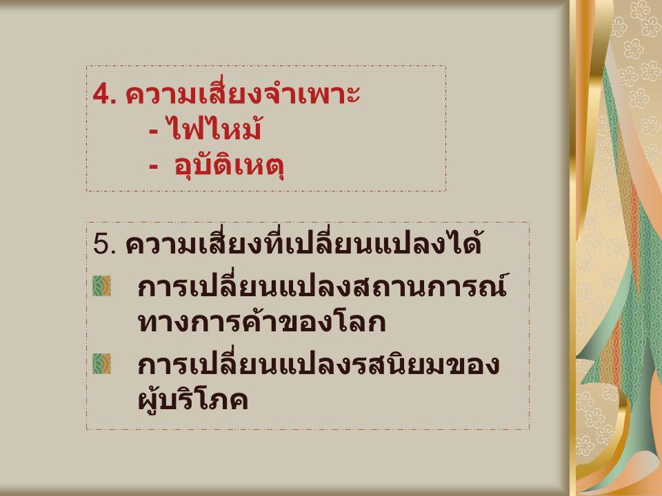 4. ความเสี่ยงจำเพาะ - ไฟไหม้ - อุบัติเหตุ