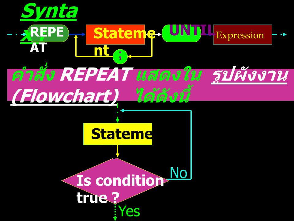 คำสั่ง REPEAT แสดงใน รูปผังงาน (Flowchart) ได้ดังนี้