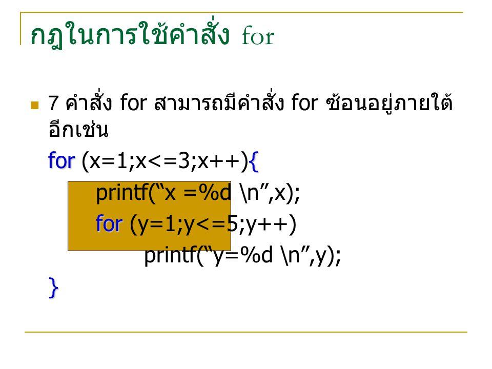 กฎในการใช้คำสั่ง for for (x=1;x<=3;x++){ printf( x =%d \n ,x);