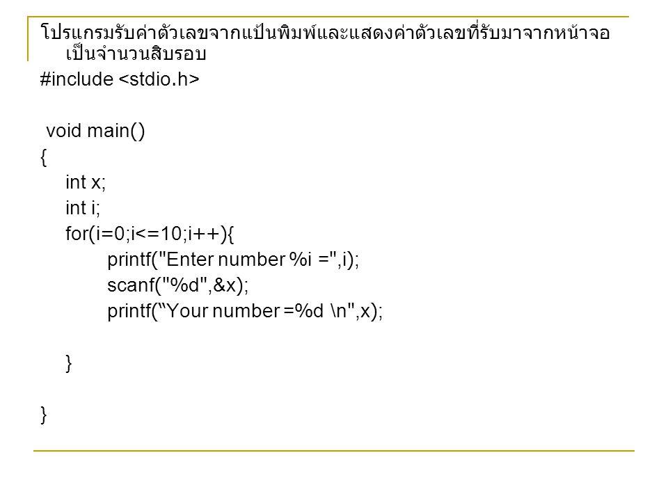 โปรแกรมรับค่าตัวเลขจากแป้นพิมพ์และแสดงค่าตัวเลขที่รับมาจากหน้าจอ เป็นจำนวนสิบรอบ